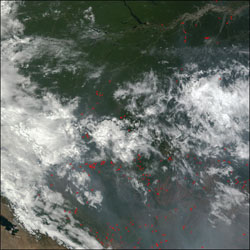 From the rainforests around the Amazon River on top in Brazil, through the central highlands and into Bolivia to the southwest, numerous fires were burning throughout the region on September 8, 2002.