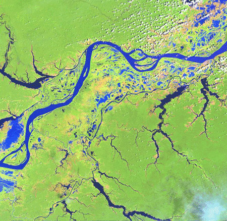 Image to right: A Landsat Image of the Amazon River, Brazil, on
