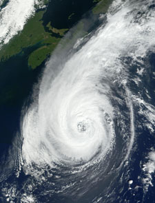 In this MODIS image, Hurricane Erin stretches from the Virginia in the south, past Massachusetts's boot
