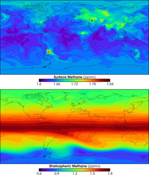 These maps show the distribution of methane at the surface on top and in the stratosphere on bottom, calculated by a NASA computer model.