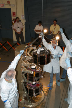 Test deployment of 1 of the 3 ST5 spacecraft.