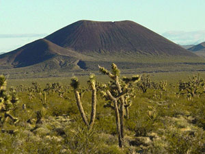 A nearly perfect volcanic cone built entirely of loose fragmented material in Mojave National Preserve, California.