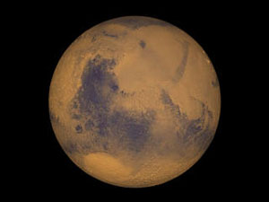True color image of the planet, Mars.