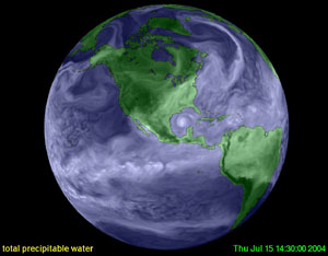 This image of the Earth shows water vapor from the surface to the upper atmosphere (white areas). The areas with less water vapor appear deeper blue.  Credit: NASA Ames