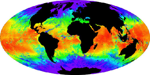 This map of sea surface temperatures was produced using MODIS data on the Terra satellite.