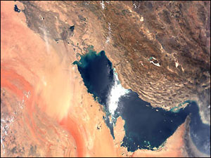 Image of the Persian Gulf region in the Middle East.