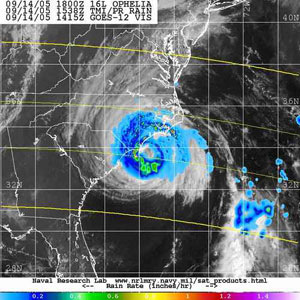 TRMM satellite's Precipitation Radar instrument captured this view of Hurricane Ophelia on September 14, 2005.