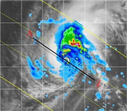 This is a frame from the animation showing the coverage of the TRMM satellite during the life cycle of Typhoon Meari in 2004.
