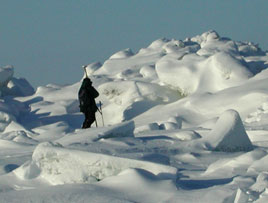 Photo of a scientist taking measurements of the ice.