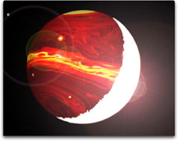 Image shows how one side of the exoplanet is heated strongly by the star, and glows brightly.