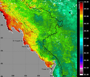 This is an image of sea surface temperatures at the southern Great Barrier Reef showing increased temperatures over inshore reefs, the location of the most severe coral bleaching at present.