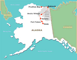: A map of the team's planned path across Alaska to collect snow samples