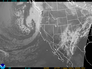 Satellite image of a comma shaped storm systems in the mid-latitude regions, like the one shown here on the Pacific Northwest coast, produce our everyday weather but also determine the radiation, heat, and water budgets of those regions.