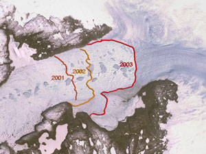 Jakobshavn Glacier Retreat 2001