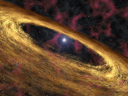 This artists concept depicts a type of dead star called a pulsar and the surrounding disk of rubble discovered by NASAs Spitzer Space Telescope.