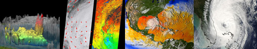 Composite of thumbnails from various hurricane readings from the 2005 season