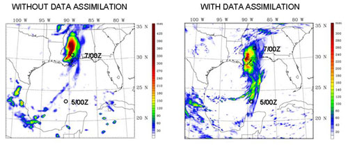 These two images show forecast rainfall amounts over 48 hours, from tropical storm Cindy, July 5 through 7 without, left, and with NASA data, right.