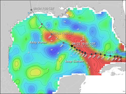 This is an image of sea surface height measurements from NASA's Topex Poseidon and Jason satellites, during Hurricane Rita's trek in the Gulf of Mexico in Sept. 2005.