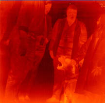 QWIP infrared image of researchers and a dog