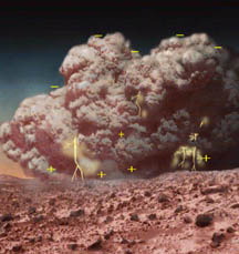 Artist's concept of electric Martian dust storm