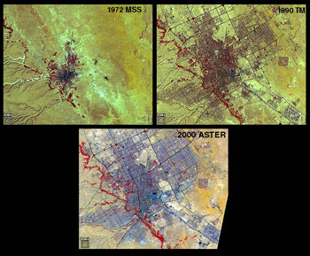 This image show a desert city's urban expansion captured by satellite.