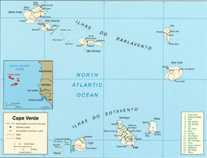 Depicted here are all of the islands that comprise Cape Verde, which is off the west coast of Africa.