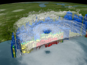 This is an image of Hurricane Katrina on Sunday, August 28, 2005 at 5:30 PM EDT as seen by the Tropical Rainfall Measuring Mission satellite's Precipitation Radar, Visible Infrared Scanner, Tropical Microwave Imager and the GOES spacecraft.