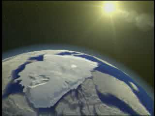 Still from animation showing white, snow covered terrain acting as a giant reflector that bounces incoming solar radiation back into space.