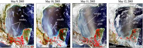 These images from the Moderate Resolution Imaging Spectroradiometer on the Terra and Aqua satellites on May 9 thru 12, 2003, shows the transport of smoke plumes.