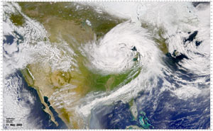 This May 11, 2003, SeaWiFS image shows that much of the country's weather was dominated by a low pressure system centered near Lake Michigan.