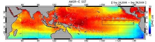 This image from the AMSR E aboard NASA's Aqua spacecraft shows sea surface temperatures in the Pacific Ocean.