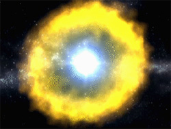 Still from animation showing the artist's concept of a supernova.