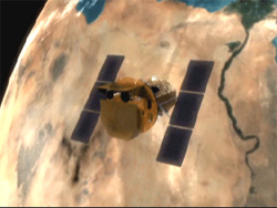 Still from animation showing the Swift satellite in orbit.