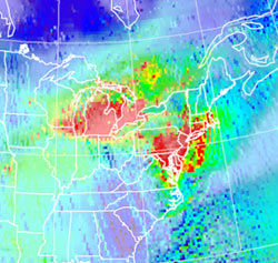 Map showing the amount of nitrogen dioxide in the atmosphere over the eastern United States on January 29, 2005.