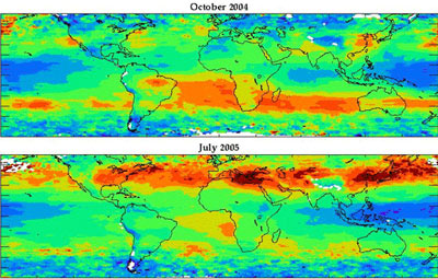 Global maps of ozone levels over a month's time.