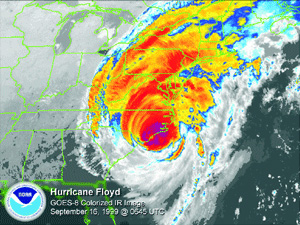This is an image from NOAA of Hurricane Floyd.