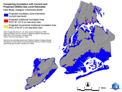 This image shows the storm surgeover specific neighborhoods of New York City from a Category 3 hurricane, worst case scenario, if the storm tracks slightly west of the city.
