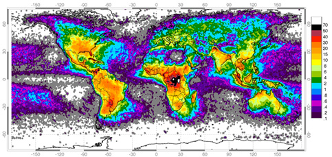 This map reveals the uneven distribution of worldwide lightning with color variations indicating the average annual number of lightning flashes per square kilometer.