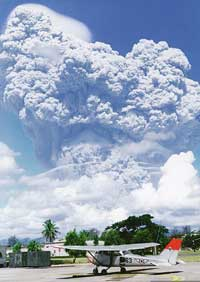 The eruption of Mount Pinatubo in June 1991.