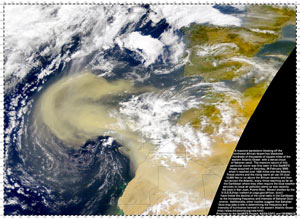 On Feb. 26, 2000, a massive sandstorm blowing off the northwest African desert blanketed hundreds of thousands of square miles of the eastern Atlantic Ocean with Saharan Sand.