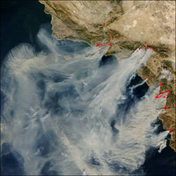 This image shows several wildfires in southern California.