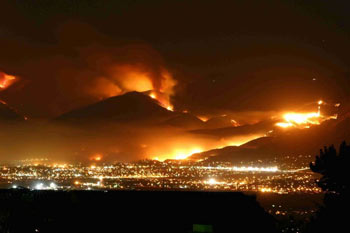 The Mine Fire in San Diego County, California, burned through the wildland urban interface in 2003.