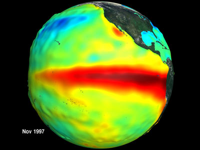 One of two images which show the relationship between ocean temperature and ocean biology during the 1997 El Nino and 1998 La Nina events.