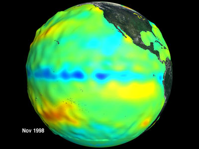 Two of two images which show the relationship between ocean temperature and ocean biology during the 1997 El Nino and 1998 La Nina events.