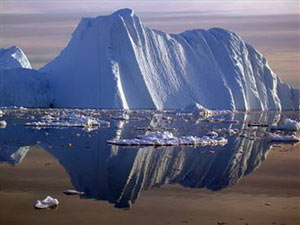 This image shows an iceberg floating in southwest Greenland.
