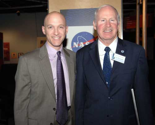 Michael Starobin, NASA TV producer and Dr. Alexander McDonald, theinventor of the Science on a Sphere from the National Oceanic and AtmosphericAdministration.