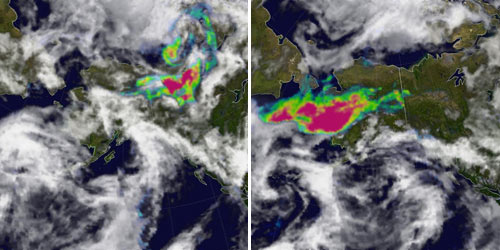 This pair of images from the Ozone Monitoring Instrument on NASA's Aura satellite shows smoke measurements over Alaska and western Canada on August 15, 2005 and August 21, 2005.