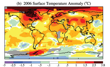 Surface temperature anomalies in 2006.
