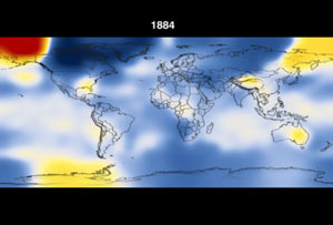 Still from animation showing world temps in 1884.