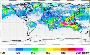 The large plume of pollution from Indonesian fires in November 2006 is clearly visible in this global average map of atmospheric carbon monoxide as measured by the Measurements of Pollution in the Troposphere instrument.